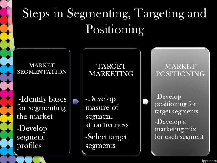 segmenting targeting and positioning Microsoft segmentation, targeting and positioning can be explained as a set of activities that constitute the core of marketing efforts segmentation involves dividing population into groups on the basis of certain characteristics businesses focus on certain customer segments and position.