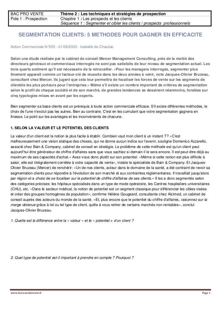 BAC PRO VENTE                   Thème 2 : Les techniques et stratégies de prospectionPole 1 : Prospection            Chapi...