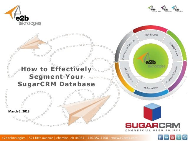 How to Effectively             Segment Your Click to add subtitle        SugarCRM Database  Presenter Name   March 6, 2013...
