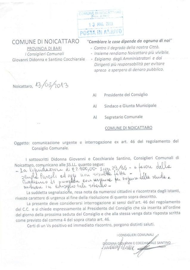 """COMUNE DI NOICATTARO PROVINCIA DI BARI tConsiglieri Comunali Giovanni Didonna e Santino Cocchiarale """"Cambíare le cose dípe..."""