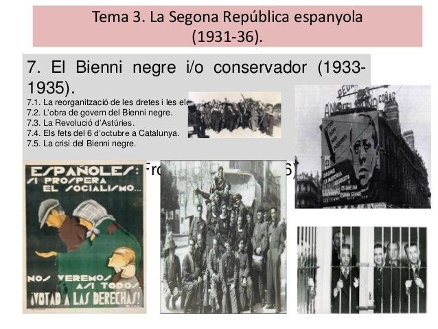 Tema 3. La Segona República espanyola (1931-36). 7. El Bienni negre i/o conservador (1933- 1935). 7.1. La reorganització d...