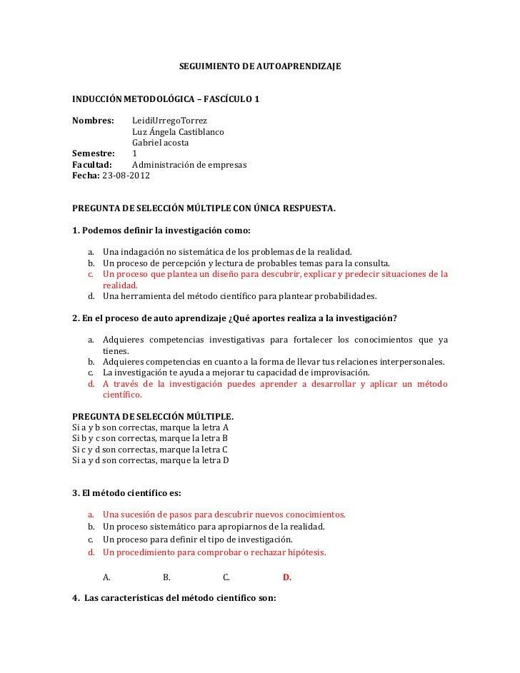 SEGUIMIENTO DE AUTOAPRENDIZAJEINDUCCIÓN METODOLÓGICA – FASCÍCULO 1Nombres:      LeidiUrregoTorrez              Luz Ángela ...