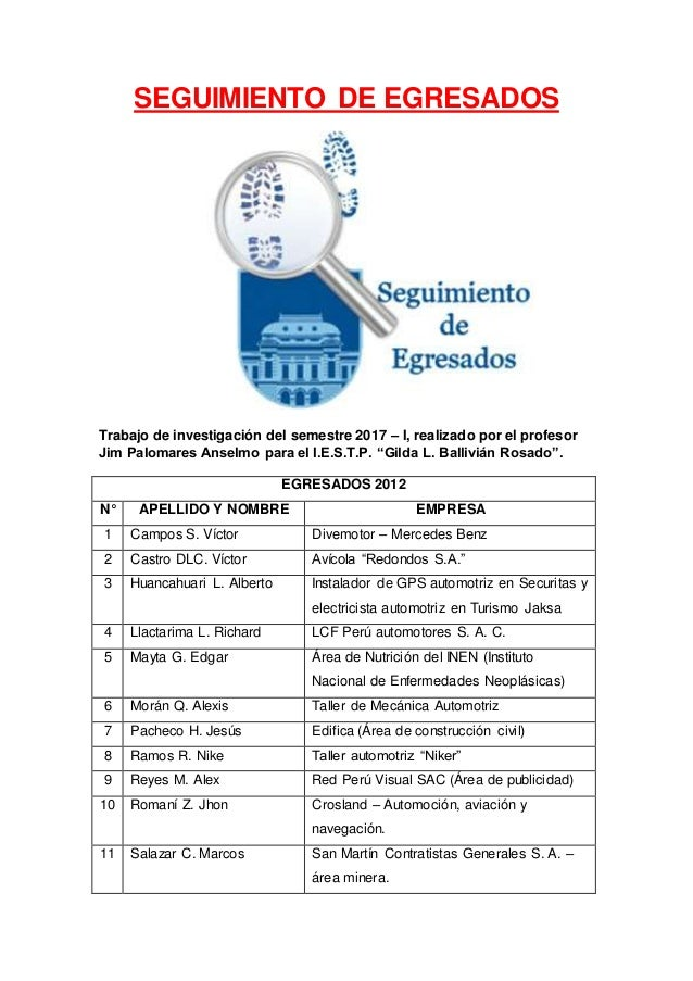 Seguimiento de egresados 2011 - 2012
