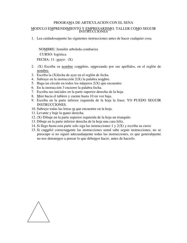 PROGRAMA DE ARTICULACION CON EL SENA MODULO EMPRENDIMIENTO Y EMPRESARISMO. TALLER COMO SEGUIR                     INSTRUCC...