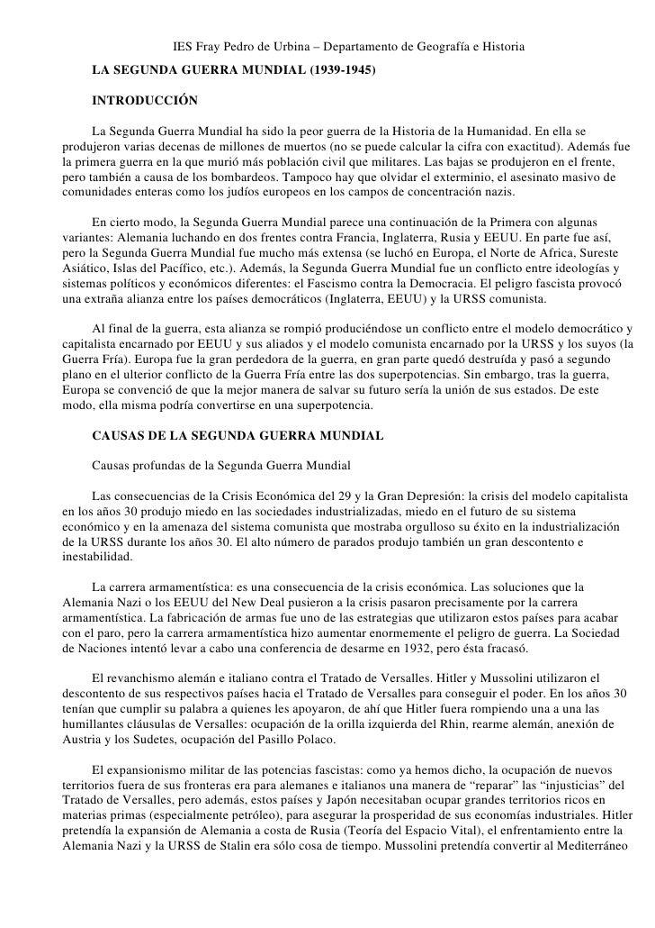IES Fray Pedro de Urbina – Departamento de Geografía e Historia      LA SEGUNDA GUERRA MUNDIAL (1939-1945)       INTRODUCC...
