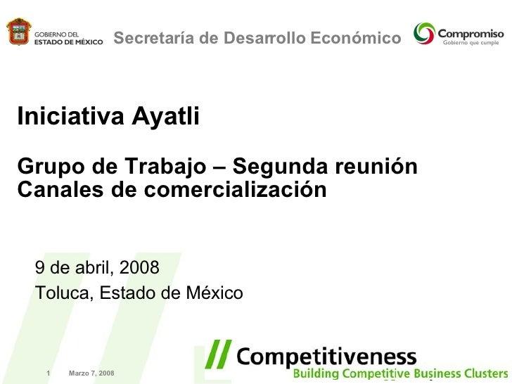 Marzo 7, 2008 Secretaría de Desarrollo Económico Iniciativa Ayatli Grupo de Trabajo – Segunda reuni ón Canales de comercia...