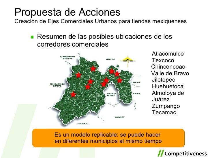 <ul><li>Resumen de las posibles ubicaciones de los corredores comerciales </li></ul>Propuesta de Acciones Creación de Ejes...