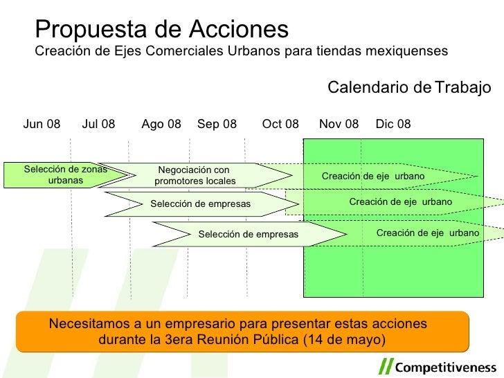 <ul><li>Calendario de Trabajo </li></ul>Propuesta de Acciones Creación de Ejes Comerciales Urbanos para tiendas mexiquense...