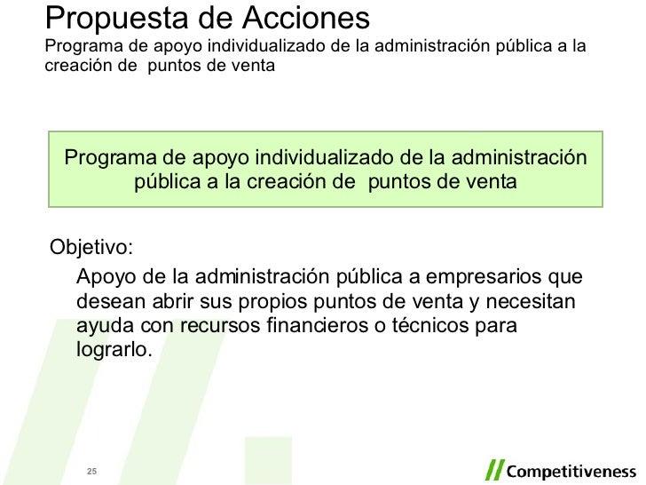 Propuesta de Acciones Programa de apoyo individualizado de la administración pública a la creación de  puntos de venta Obj...