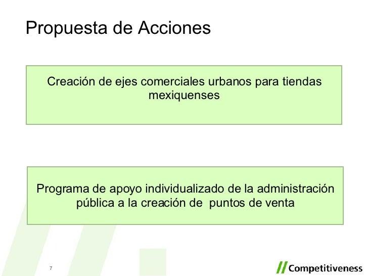 Propuesta de Acciones Creación de ejes comerciales urbanos para tiendas mexiquenses Programa de apoyo individualizado de l...