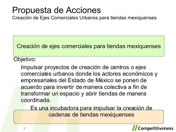 Propuesta de Acciones Creación de Ejes Comerciales Urbanos para tiendas mexiquenses Objetivo: Impulsar proyectos de creaci...