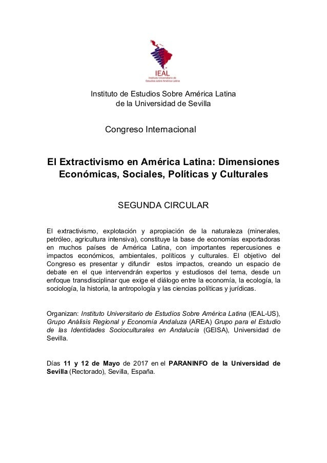 Instituto de Estudios Sobre América Latina de la Universidad de Sevilla Congreso Internacional El Extractivismo en América...