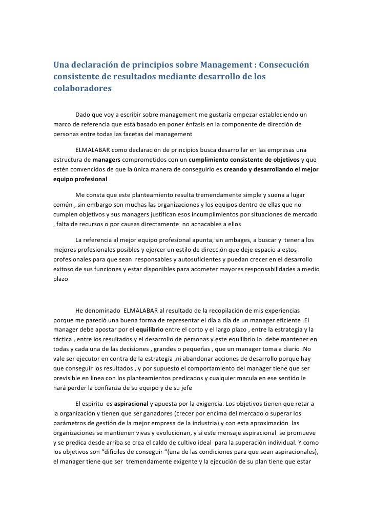 Una declaración de principios sobre Management : Consecución consistente de resultados mediante desarrollo de los colabora...
