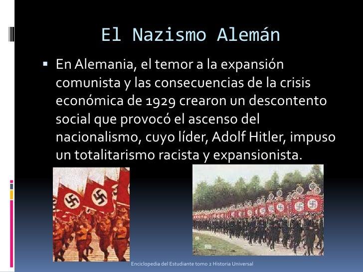 El Nazismo Alemán En Alemania, el temor a la expansión  comunista y las consecuencias de la crisis  económica de 1929 cre...