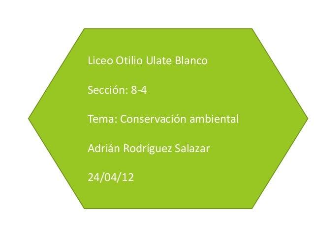 Liceo Otilio Ulate BlancoSección: 8-4Tema: Conservación ambientalAdrián Rodríguez Salazar24/04/12