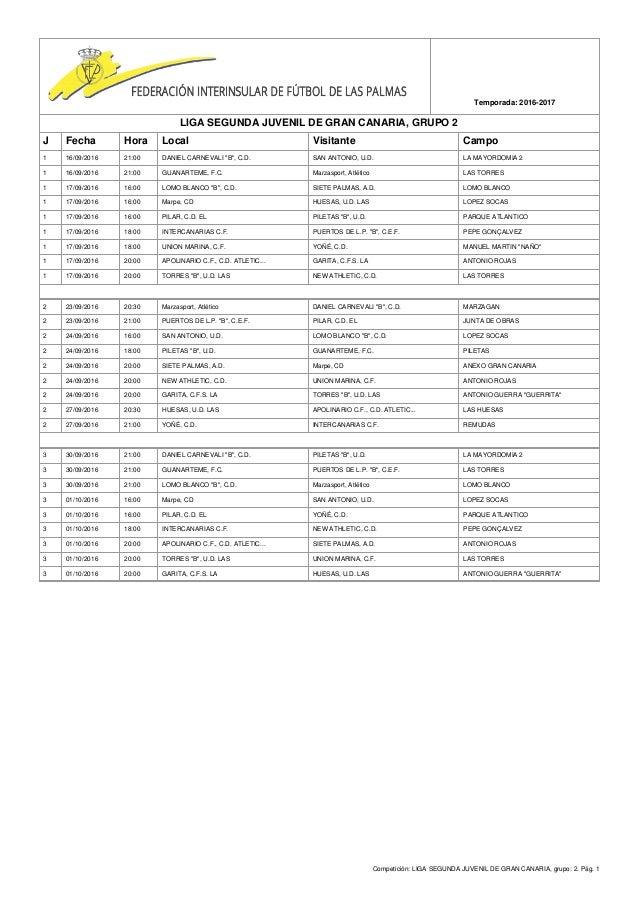Competición: LIGA SEGUNDA JUVENIL DE GRAN CANARIA, grupo: 2. Pág. 1 Temporada: 2016-2017 LIGA SEGUNDA JUVENIL DE GRAN CANA...