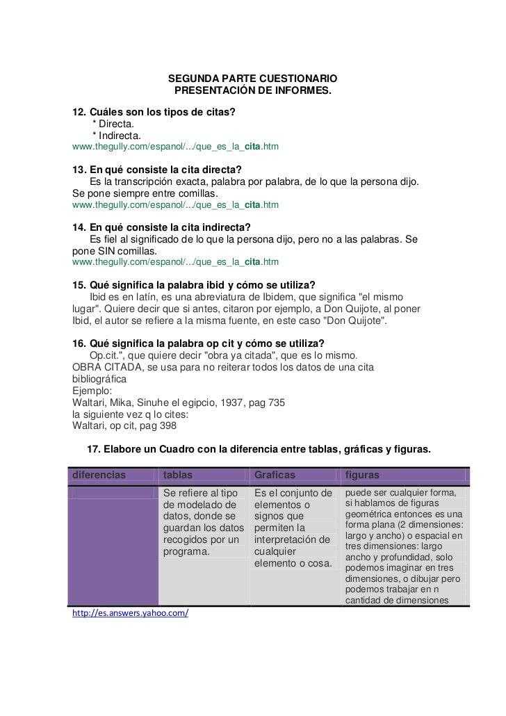 SEGUNDA PARTE CUESTIONARIO<br />PRESENTACIÓN DE INFORMES.<br />12. Cuáles son los tipos de citas?<br />       * Directa.<b...