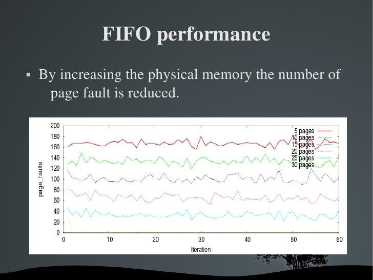 FIFOperformance   Byincreasingthephysicalmemorythenumberof     pagefaultisreduced.