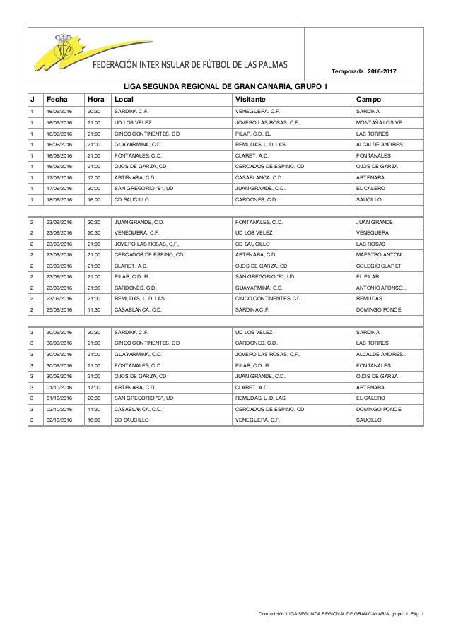 Competición: LIGA SEGUNDA REGIONAL DE GRAN CANARIA, grupo: 1. Pág. 1 Temporada: 2016-2017 LIGA SEGUNDA REGIONAL DE GRAN CA...