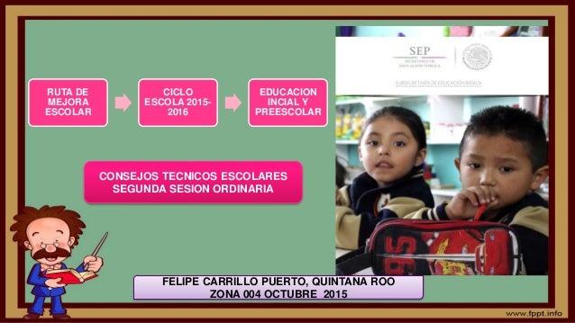 RUTA DE MEJORA ESCOLAR CICLO ESCOLA 2015- 2016 EDUCACION INCIAL Y PREESCOLAR CONSEJOS TECNICOS ESCOLARES SEGUNDA SESION OR...