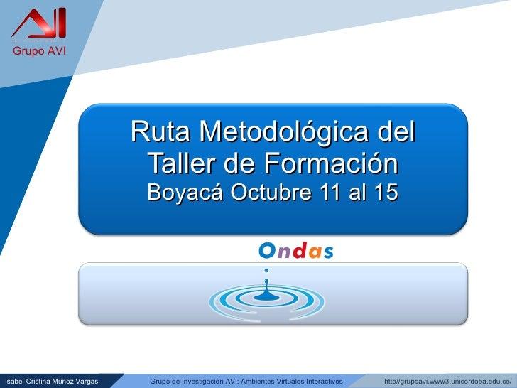 Ruta Metodológica del Taller de Formación Boyacá Octubre 11 al 15