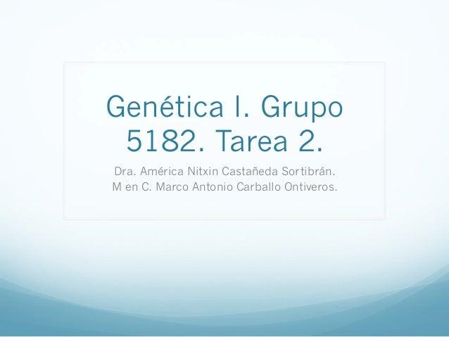 Genética I. Grupo 5182. Tarea 2. Dra. América Nitxin Castañeda Sortibrán. M en C. Marco Antonio Carballo Ontiveros.