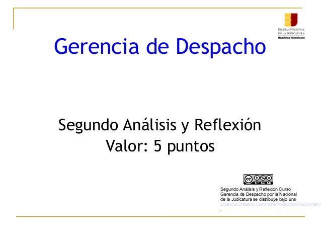 Gerencia de Despacho Segundo Análisis y Reflexión Valor: 5 puntos Segundo Análisis y Reflexión Curso Gerencia de Despacho ...