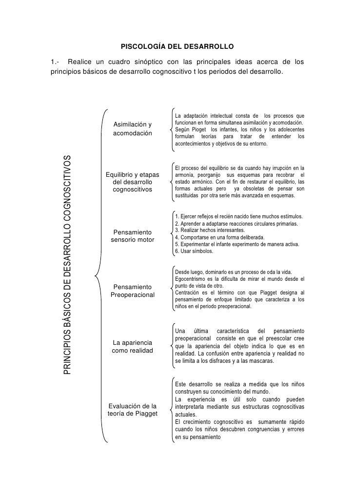 PISCOLOGÍA DEL DESARROLLO<br />1.-  Realice un cuadro sinóptico con las principales ideas acerca de los principios básicos...