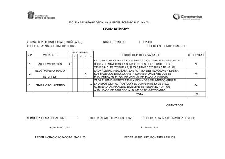 """ESCUELA SECUNDARIA OFICIAL No. 2 """"PROFR. ROBERTO RUIZ LLANOS                                                      ESCALA E..."""