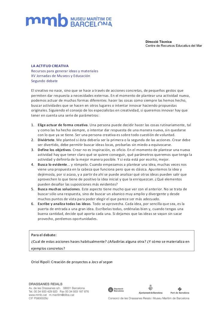 Direcció Tècnica                                                                     Centre de Recursos Educatius del MarL...