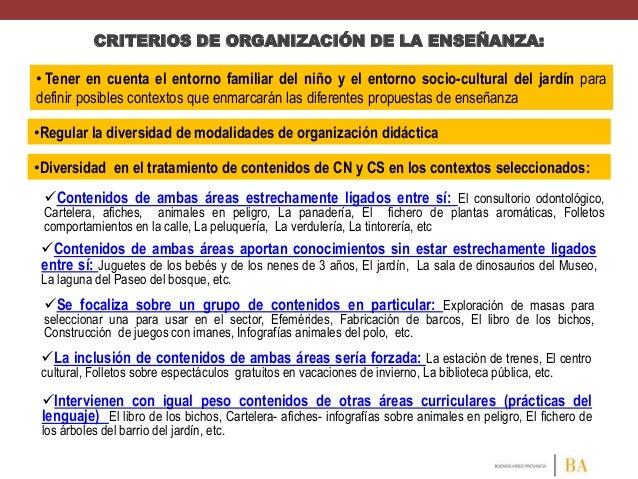 CRITERIOS DE ORGANIZACIÓN DE LA ENSEÑANZA:  • Tener en cuenta el entorno familiar del niño y el entorno socio-cultural del...