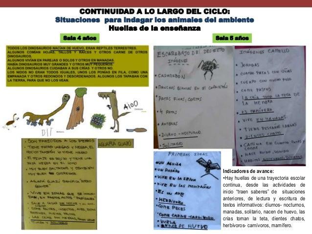 CONTINUIDAD A LO LARGO DEL CICLO: Situaciones para indagar los animales del ambiente Huellas de la enseñanza Sala 4 años  ...