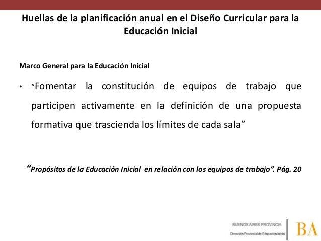 Huellas de la planificación anual en el Diseño Curricular para la Educación Inicial Marco General para la Educación Inicia...