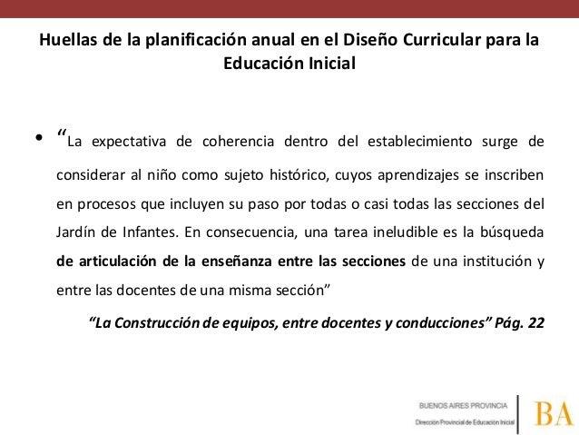 """Huellas de la planificación anual en el Diseño Curricular para la Educación Inicial  • """"La  expectativa de coherencia dent..."""