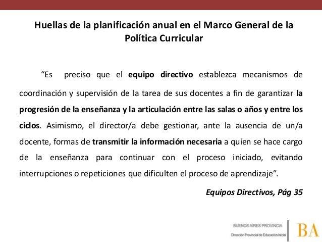 """Huellas de la planificación anual en el Marco General de la Política Curricular """"Es  preciso que el equipo directivo estab..."""