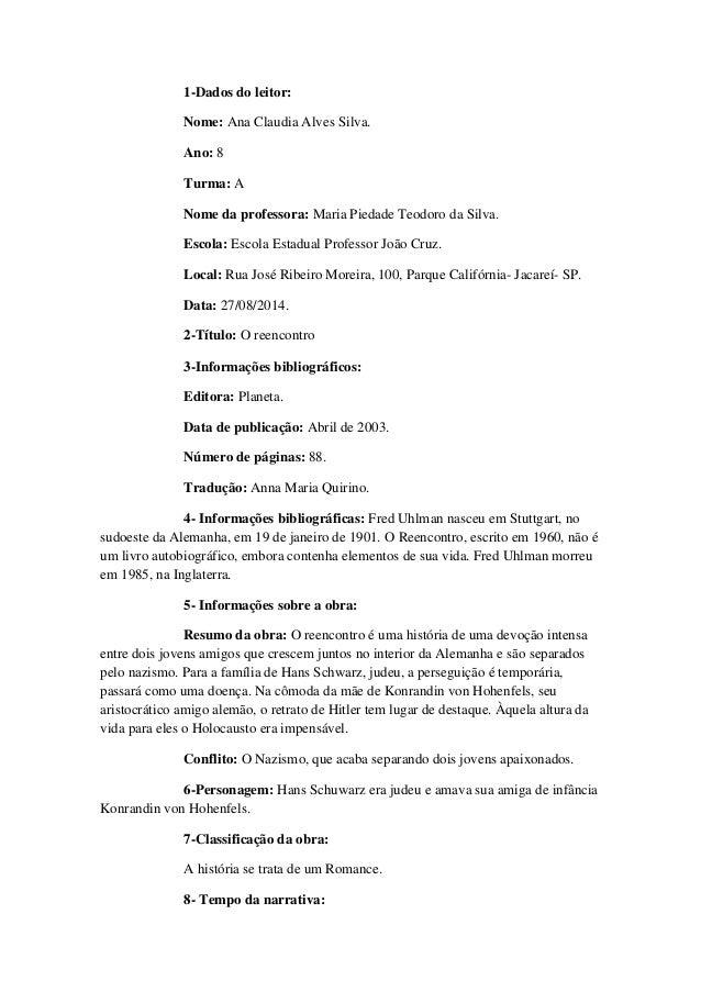"""Ficha de leitura sobre o livro """"O Reencontro"""""""