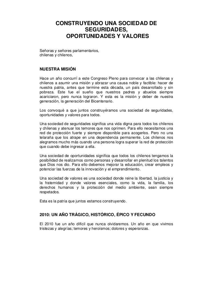 CONSTRUYENDO UNA SOCIEDAD DE                 SEGURIDADES,            OPORTUNIDADES Y VALORESSeñoras y señores parlamentari...