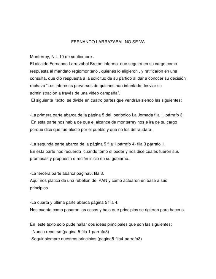 FERNANDO LARRAZABAL NO SE VA<br />Monterrey, N.L 10 de septiembre .<br />El alcalde Fernando Larrazábal Bretón informo  qu...