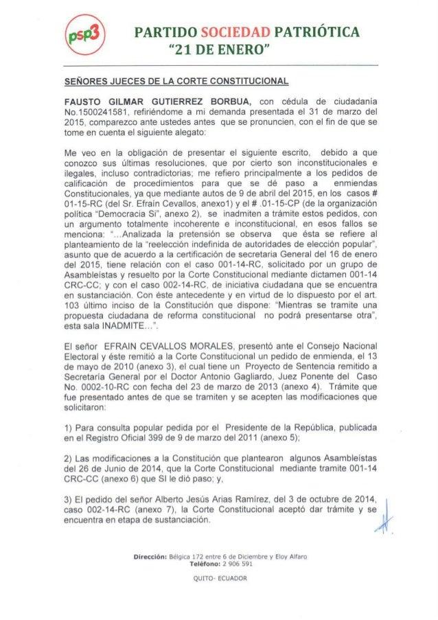 Segundo pedido consulta popular - Asambleísta Gilmar Gutiérrez