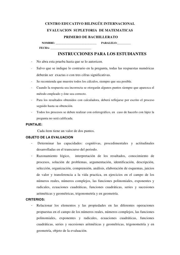 CENTRO EDUCATIVO BILINGÜE INTERNACIONAL<br />EVALUACION  SUPLETORIA  DE MATEMATICAS <br />  PRIMERO DE BACHILLERATO<br />N...