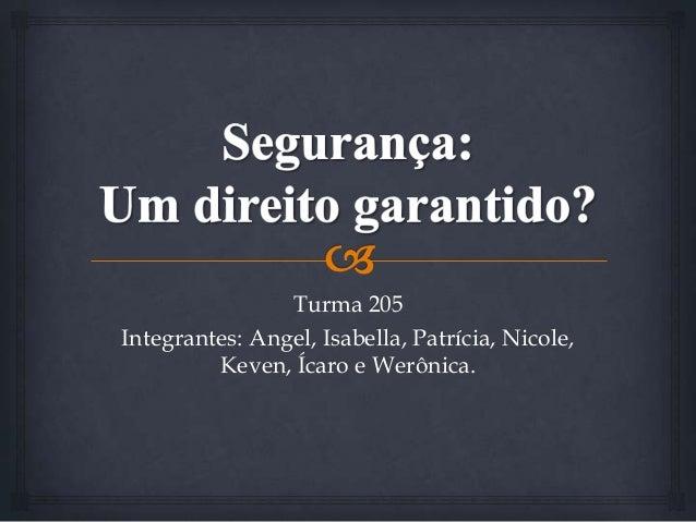 Turma 205 Integrantes: Angel, Isabella, Patrícia, Nicole, Keven, Ícaro e Werônica.