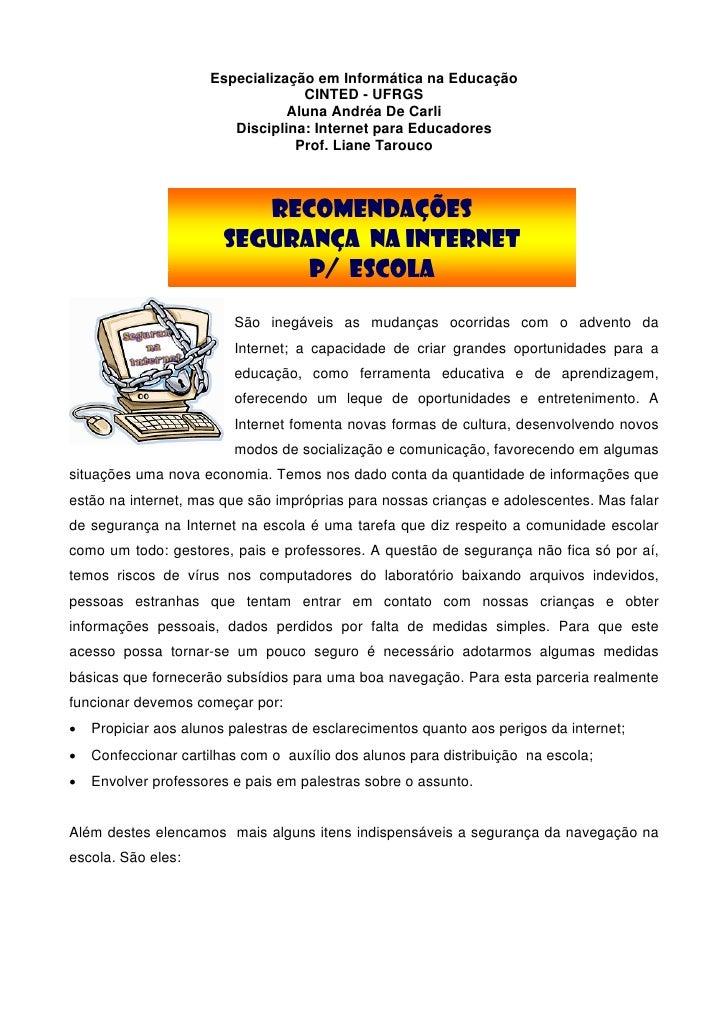 Especialização em Informática na Educação                                    CINTED - UFRGS                               ...