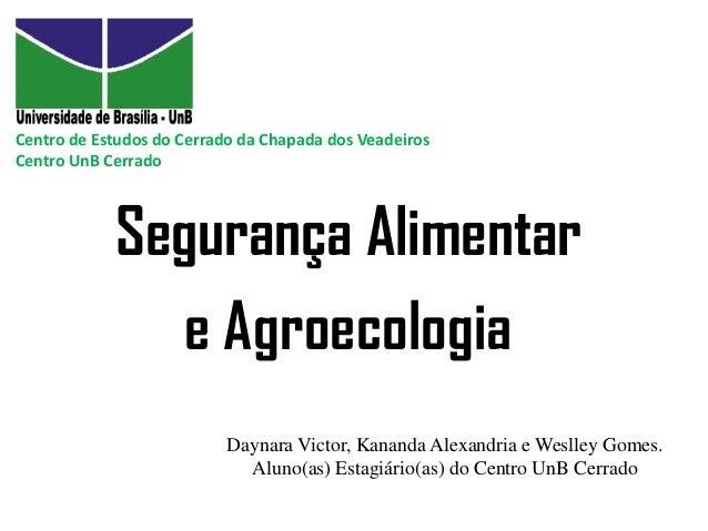 Centro de Estudos do Cerrado da Chapada dos Veadeiros Centro UnB Cerrado  Segurança Alimentar e Agroecologia Daynara Victo...