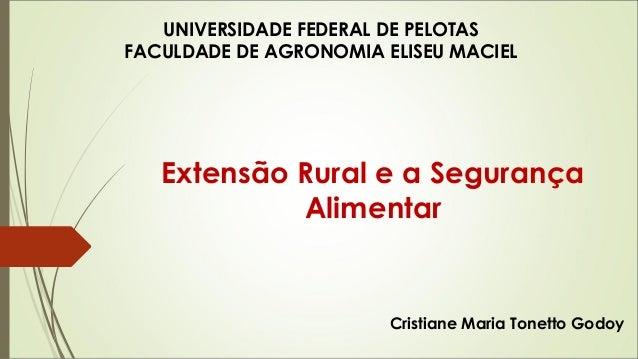 UNIVERSIDADE FEDERAL DE PELOTAS  FACULDADE DE AGRONOMIA ELISEU MACIEL  Extensão Rural e a Segurança  Alimentar  Cristiane ...