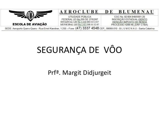 SEGURANÇA DE VÔO Prfª. Margit Didjurgeit