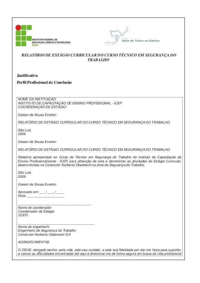 RELATÓRIO DE ESTÁGIO CURRICULAR DO CURSO TÉCNICO EM SEGURANÇA DO TRABALHO  Justificativa Perfil Profissional de Conclusão ...