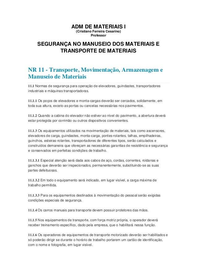 ADM DE MATERIAIS I (Cristiano Ferreira Cesarino) Professor SEGURANÇA NO MANUSEIO DOS MATERIAIS E TRANSPORTE DE MATERIAIS N...