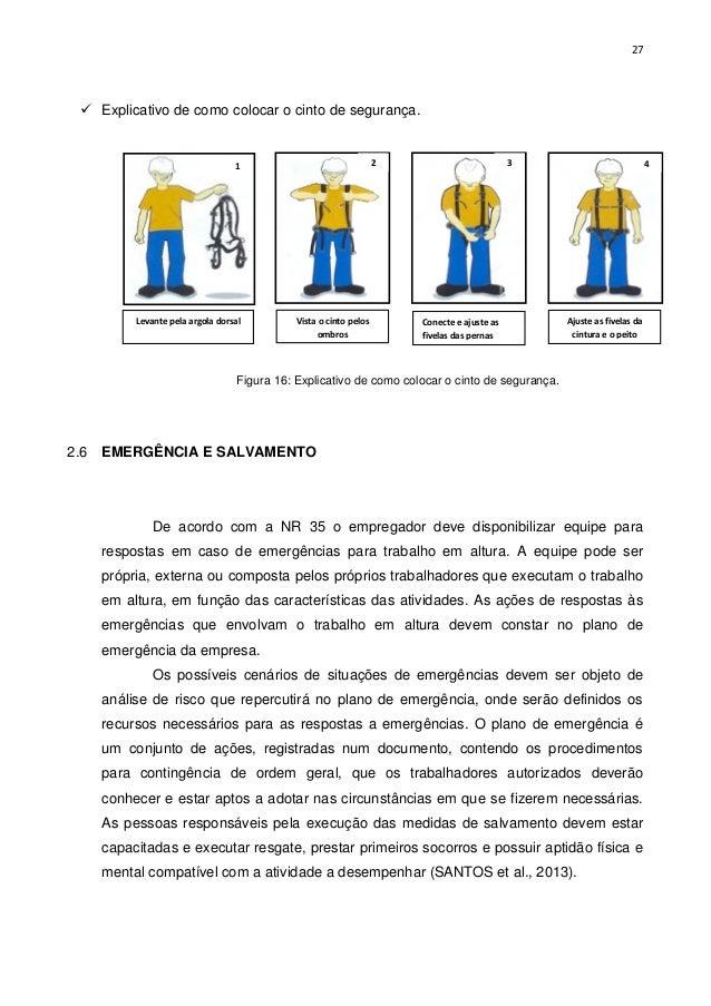 4f5f281c77b58 Figura 15  Linha de vida  27. 27  Explicativo de como colocar o cinto de  segurança.