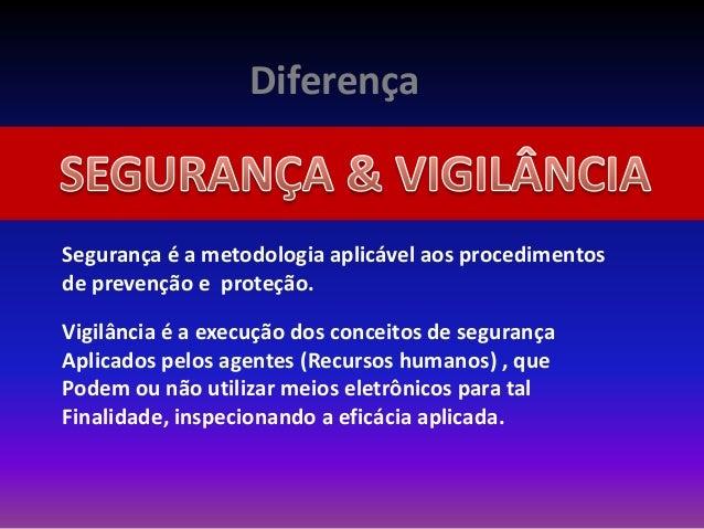Diferença Segurança é a metodologia aplicável aos procedimentos de prevenção e proteção. Vigilância é a execução dos conce...