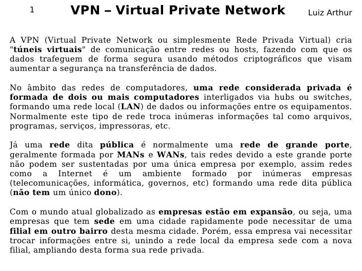 1        VPN – Virtual Private Network                         Luiz Arthur   A VPN (Virtual Private Network ou simplesment...
